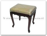 "Chinese Furniture - ff7357os -  Queen ann legs stool with fixed cushion - 17"" x 14"" x 19"""