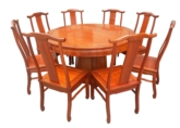 "Chinese Furniture - ff7507pn -  round dining table plain design w/8 ue style chairs - 54"" x 54"" x 30"""