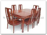 "Rosewood Furniture - ff7606h -  Round corner dining table with 2+4 high back chairs - 62"" x 44"" x 30"""