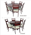 "Rosewood Furniture - ff7607e -  Extendable round dining table with 6 chairs    - 60"" x 60"" x 30"""