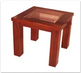 "Chinese Furniture - ff8002r -  Redwood bevel glass top end table - 26"" x 26"" x 22"""