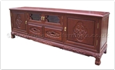 "Chinese Furniture - ff80031tv -  Blackwood t.v. cabinet - 2 drawers and  4 doors flower carved - carved legs - 71"" x 17"" x 24"""