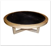 "Chinese Furniture - ff8012a -  Ashwood marble top round coffee table - 39.5"" x 39.5"" x 16"""