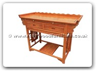 "Chinese Furniture - ffalt2ds -  Altar table full carved with 2 drawers and shelf - 49"" x 20.5"" x 34"""