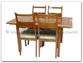 "Rosewood Furniture - ffasdin -  Ash wood folding extension sq dining table with 4 side chairs - 58"" x 34"" x 30"""
