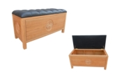 "Chinese Furniture - ffashchestll -  Ash Chest L.L. Design With Black Leather buttoned top - 42"" x 18"" x 21"""