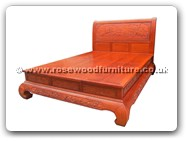 "Oriental Furniture - ffbedfcc -  Curved legs queen size bed full carved - 21.5"" x 17.5"" x 22"""