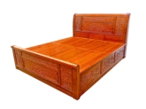 "Chinese Furniture - ffbedp4d -  queen size bed full peony carved w/4 drawers - 60"" x 79"" x 0"""