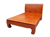"Chinese Furniture - ffbedpc -  queen size curved legs bed w/full peony carved - 60"" x 79"" x 0"""