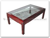 "Chinese Furniture - ffbgkcof -  Bevel glass top coffee table key design - 50"" x 30"" x 18"""
