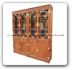 "Chinese Furniture - ffbokdlml -  Bookcase dlmch-mlzj carved w/4 drawers & 4 wooden doors & glass doors - 77"" x 16"" x 87"""