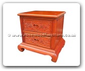 "Chinese Furniture - ffbsideb -  Curved legs bedside cabinet full flower and bird carved with 2 drawers - 21.5"" x 17.5"" x 22"""