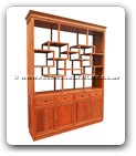 "Chinese Furniture - ffbufbt -  Display cabinet  flower and bird carved with 4 doors and 4 drawers with curio top - 72"" x 17"" x 93"""