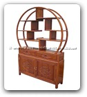 "Oriental Furniture - ffbufct -  Buffet with 2 drawers and 2 doors flower and bird design with circular curio top - 48"" x 10"" x 49"""