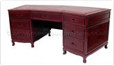 "Chinese Furniture - ffbw84desk -  Black wood executive office design - 84"" x 33"" x 31"""