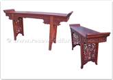"Chinese Furniture - ffbwkdht -  Blackwood hall table key pattern - open simple dragon carved - 69"" x 16"" x 34"""