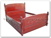 "Oriental Furniture - ffbwpbed -  Black wood poster bed with carved fore 54 inch with matress - 72"" x 78"" x """