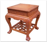 "Chinese Furniture - ffbwst -  Curved legs side table w/full carved - 19"" x 23.5"" x 24"""