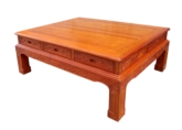 "Oriental Furniture - ffcof6df -  coffee table w/full carved & 6 drawers - 57.5"" x 42.5"" x 22"""