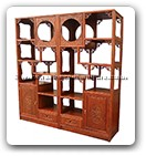 "Chinese Furniture - ffcurcf -  Curio cabinet flower design with 2 drawers and 2 doors - 78"" x 15"" x 84"""