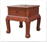 "Chinese Furniture - ffcuristb -  Curved legs side table ru-yi design w/1 drawer - 22.5"" x 22.5"" x 24"""