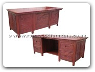 "Rosewood Furniture - ffdeskfbsh -  Writing desk full flower and bird and songhe carved with 4 drawers - 69.5"" x 35.5"" x 31"""