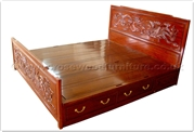 "Rosewood Furniture - ffdpbed -  King size bed dragon and phoenix design - 4 drawers - "" x "" x """