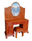 "Oriental Furniture - ffdrept -  dressing table peony carved & stool - 48.5"" x 19"" x 30"""