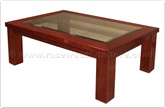 "Chinese Furniture - ffff8003r -  Redwood glass top coffee table - 47"" x 31.5"" x 16"""