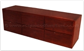 "Chinese Furniture - ffff8004r -  Red wood t.v. cabinet - 6 drawers - 72"" x 21"" x 24"""