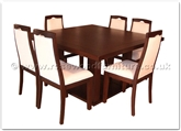 "Rosewood Furniture - ffff8006r -  Redwood sq dining table - 6 fabric chairs - 55"" x 55"" x 30"""