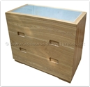 "Chinese Furniture - ffff8008a -  Ashwood glass top chest of 3 drawers - 42"" x 18"" x 31"""