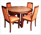 "Rosewood Furniture - ffff8010r -  Redwood marble top round dining table - 4 fabric chairs - 48"" x 48"" x 30"""