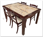 "Rosewood Furniture - ffff8011r -  Redwood marble top sq dining table - 4 fabric chairs - 59"" x 39.5"" x 30"""