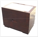 "Chinese Furniture - ffff8016r -  Redwood glass top bedside cabinet with 2 drawers - 26"" x 16"" x 20"""
