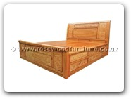 "Rosewood Furniture - fffybedg4d -  King size bed full grape carved with 4 drawers - 72"" x 78"" x 0"""