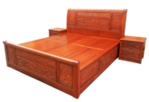 "Chinese Furniture - fffybedg4ds -  king size bed full carved w/4 drawers - 71"" x 79"" x 0"""