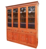 "Chinese Furniture - fffybkcab -  bookcase f&b design w/4 drawers & 4 wooden doors & 4 glass doors - 78"" x 15.5"" x 84.5"""