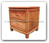 "Chinese Furniture - fffybsidef1 -  Bedside cabinet full carved with 2 drawers - 20.5"" x 18"" x 22"""