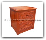 "Chinese Furniture - fffybsidef2 -  Bedside cabinet full carved w/2 drawers - 20.5"" x 18"" x 22"""