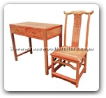 "Chinese Furniture - fffydeskf2c -  Writing desk flower design w/2 drawers and ming chair w/simple dragon carved on back - 35"" x 18.5"" x 31"""