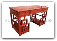 "Rosewood Furniture - fffydeskm -  Ming style writing desk flower and bird design with 3 drawers - 54.5"" x 27"" x 31.5"""