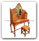 "Chinese Furniture - fffydressf -  Dressing table french design with peony and bird carved and stool - 48"" x 18"" x 31"""