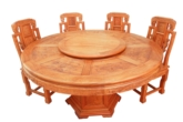 "Chinese Furniture - fffyrdin -  round dining table full carved with 8 chairs set of 9 - 60"" x 60"" x 30"""