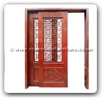 "Rosewood Furniture - fffysdpk -  Sliding door peony carved with open key design - 61"" x 83.5"" x 0"""