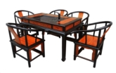 "Chinese Furniture - fffyteaftable -  tea table flower design w/5 chairs set of 6 - 54.5"" x 32.5"" x 31"""