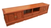 "Chinese Furniture - fffytvcb -  t.v. cabinet full f&b carved w/4 doors & 2 drawers - 85"" x 19"" x 19"""