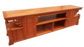 "Chinese Furniture - fffytvf -  t.v. cabinet flower carved - 85"" x 19"" x 24"""