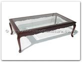 "Oriental Furniture - ffgfcof -  Bevel glass top coffee table french design - 55"" x 32"" x 16"""