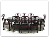 "Rosewood Furniture - ffgt96tab -  Oval dining table grape design tiger legs with 2+6 chairs - 96"" x 46"" x 30"""